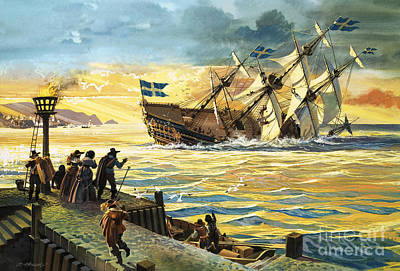 Of Pirate Ships Painting - Sinking Of The Vasa by Andrew Howat