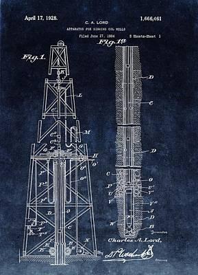Sinking Oil Well Patent Art Print