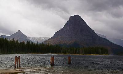 Photograph - Sinopah Mountain In A Rainstorm At Two Medicine Lake by Tracey Vivar