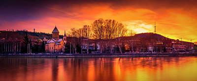 Tbilisi Photograph - Sioni And Mtatsminda At Sunset by John Wright