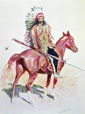 Horseback Painting - Sioux Chief by Frederic Remington