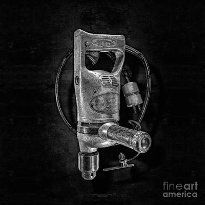Photograph - Sioux Drill Motor 1/2 Inch Bw by YoPedro