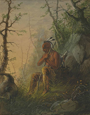 Graves Painting - Sioux Indian At A Grave by Alfred Jacob Miller