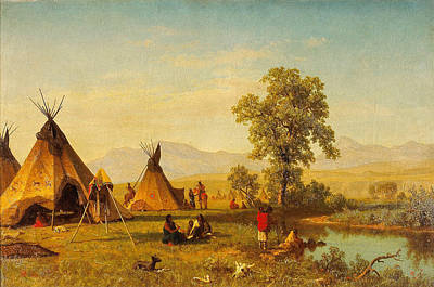 Painting - Sioux Village Near Fort Laramie - Native Indian Wall Art Prints by Albert Bierstadt