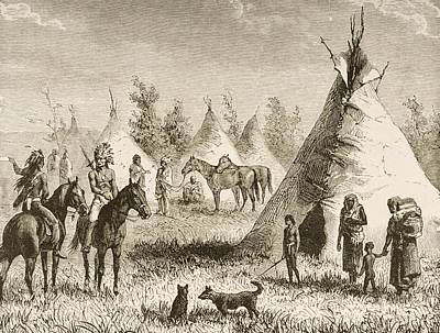 Sioux Drawing - Sioux Village Showing Teepees. From by Vintage Design Pics