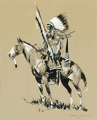Grisaille Painting - Sioux Warrior by MotionAge Designs