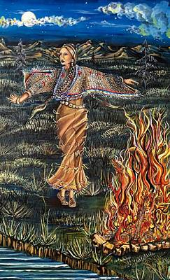 Concho Belt Mixed Media - Sioux Woman Dancing by Amy Brown