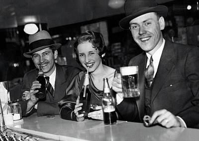 Photograph - Sipping Beer At Walgreens After Prohibition 1933 by Daniel Hagerman