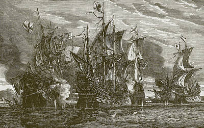 Sailboats Drawing - Sir Andrew Wood's Victory by English School