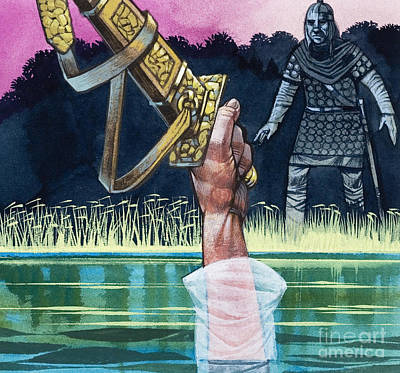 Mail Painting - Sir Bedivere Returns Excalibur To The Lady Of The Lake by Richard Hook