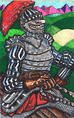 Leather Glove Drawing - Sir Bols The Black Knight by Al Goldfarb