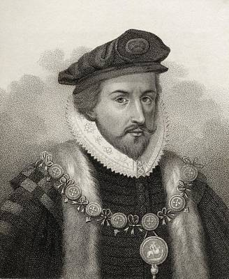 Lord Drawing - Sir Christopher Hatton 1540-1591 Lord by Vintage Design Pics