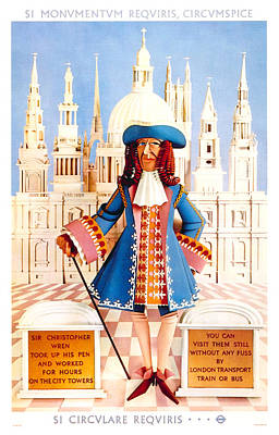 Wren Wall Art - Mixed Media - Sir Christopher Wren - St Paul's Cathedral - London Underground, London Metro - Retro Travel Poster by Studio Grafiikka