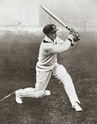 Batting Drawing - Sir Donald George Bradman, 1908 by Vintage Design Pics
