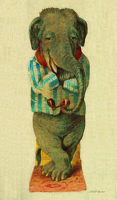 Painting - Sir Elephant - Vintage Animal by Ericamaxine Price