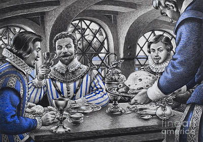 Sir Francis Drake At The Table Art Print