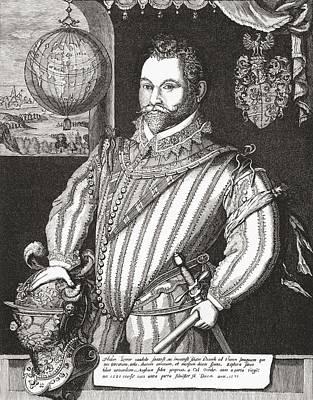 Drake Drawing - Sir Francis Drake, Vice Admiral, 1540 by Vintage Design Pics