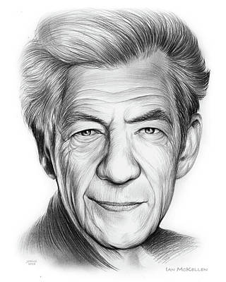 Drawings - Sir Ian Murray McKellen by Greg Joens