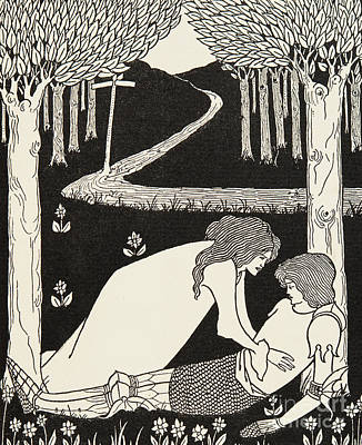 Pathway Drawing - Sir Lancelot And Dame Elaine by Aubrey Beardsley