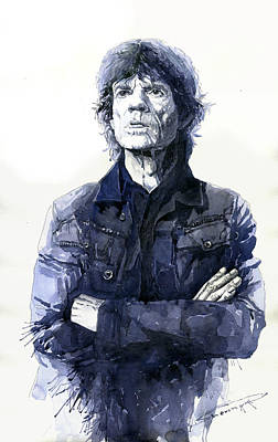 Famous Watercolor Painting - Sir Mick Jagger by Yuriy Shevchuk
