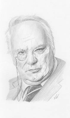 Astronomical Drawing - Sir Patrick Moore by Keith Miller