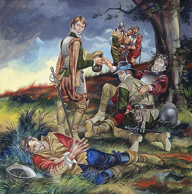 Horrors Of War Painting - Sir Philip Sidney At The Battle Of Zutphen by Ron Embleton