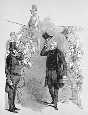 Statesmen Drawing - Sir Robert Peel Arriving At The House Of Commons by English School
