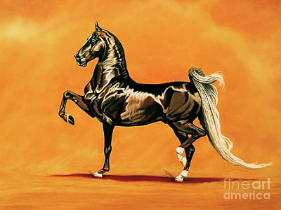 Painting - Sir Silver Knight - Saddlebred Stallion by Cheryl Poland