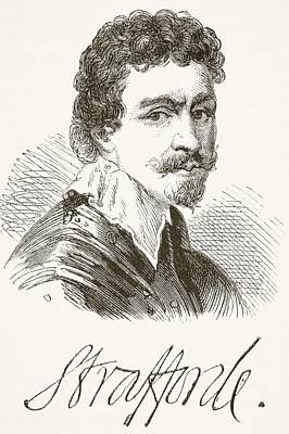 Autographed Drawing - Sir Thomas Wentworth 1st Earl Of by Vintage Design Pics