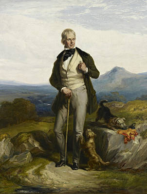 Scottish Dog Painting - Sir Walter Scott by William Allan