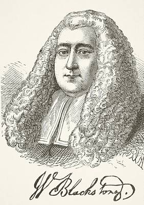 Autographed Drawing - Sir William Blackstone 1723   1780 by Vintage Design Pics