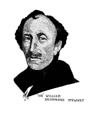 Pen Drawing - Sir William Drummond Stewert by Clayton Cannaday