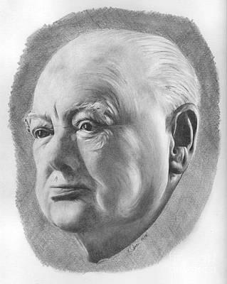 Drawing - Sir Winston Churchill by Karen Townsend