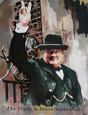 Painting - Sir Winston Churchill Victory by Richard Day