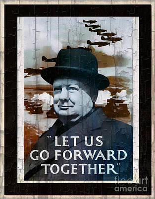 Digital Art - Sir Winston Churchill Vintage Portrait by Ian Gledhill