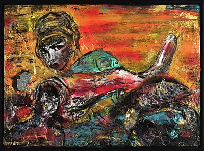 Joan Raspo Wall Art - Painting - Siren Eat by Joan Raspo