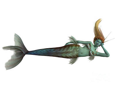 Enchanter Digital Art - Siren Mermaid On White by Corey Ford