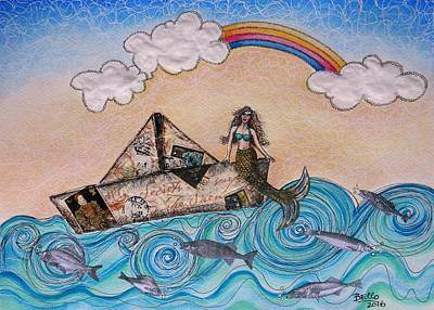 Siren On A Paper Boat Art Print