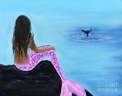 Painting - Sirena And The Whale by Leslie Allen