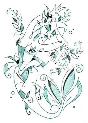 Drawing - Sirena - Mermaid Fantasy Book Illustration by Arte Venezia