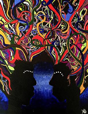 Painting - Sis The Twins - Abstract Silhouette Painting - Sisterhood - Abstract Painting  by Ai P Nilson