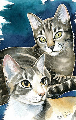 Painting - Sissy And Lily - Cat Painting by Dora Hathazi Mendes