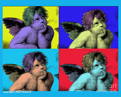 Sisteen Chapel Blue Cherub Angels After Michelangelo After Warhol Robert R Splashy Art Pop Art Print Art Print by Robert R Splashy Art