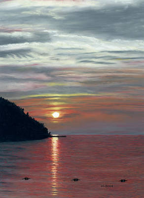 Pastel - Sister Bay Sunset by George Burr