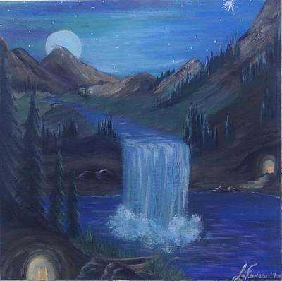 Bob Ross Painting - Sister Caves by Lori Lafevers