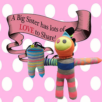 Sock Creatures Mixed Media - Sister Love by Ellen Silberlicht