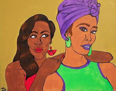 Black Art Painting -  Sister Stuff by Autumn Leaves Art