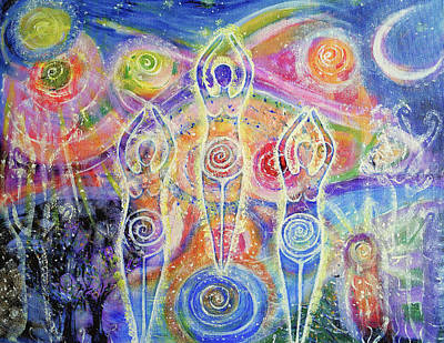 Sacred Feminine Moon Painting - Sisterhood Of The Divine Feminine by Lila Violet