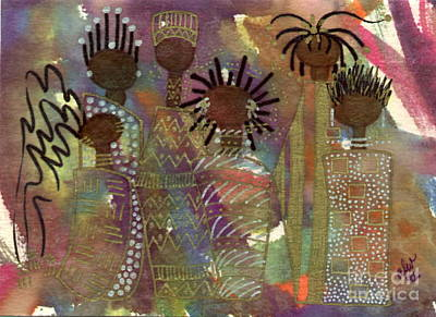 African-american Mixed Media - Sisters by Angela L Walker