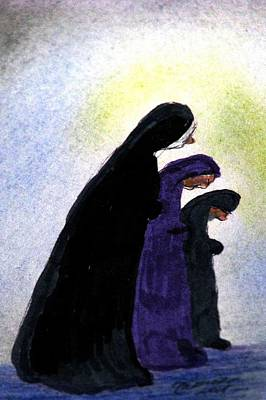 Drawing - Sisters At Prayer by Angela Davies